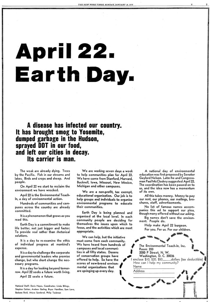 First Earth Day Post Ad 22 April New York Times