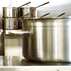 Different sizes of stainless steel cooking pots